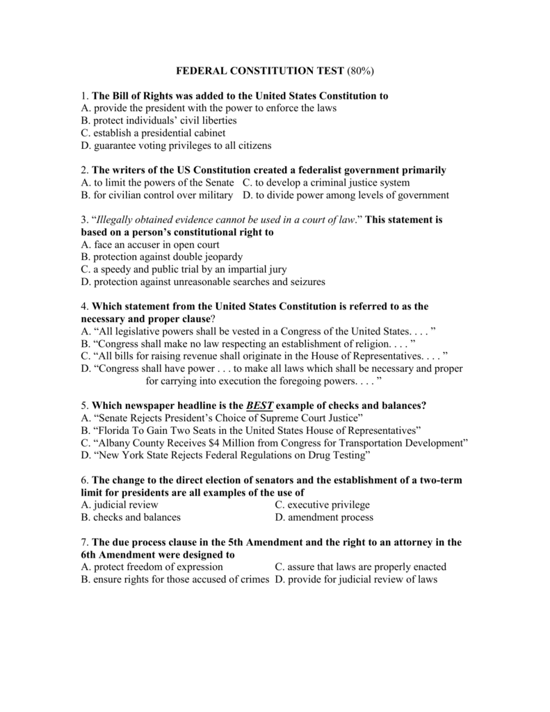 Federal Constitution Test 80