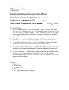 Population equations and practice questions for Industria FRQ