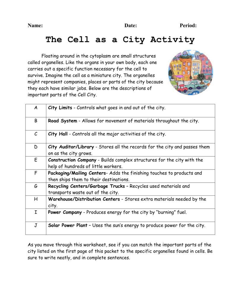 Cell City Introduction WAHS – Cell City Analogy Worksheet