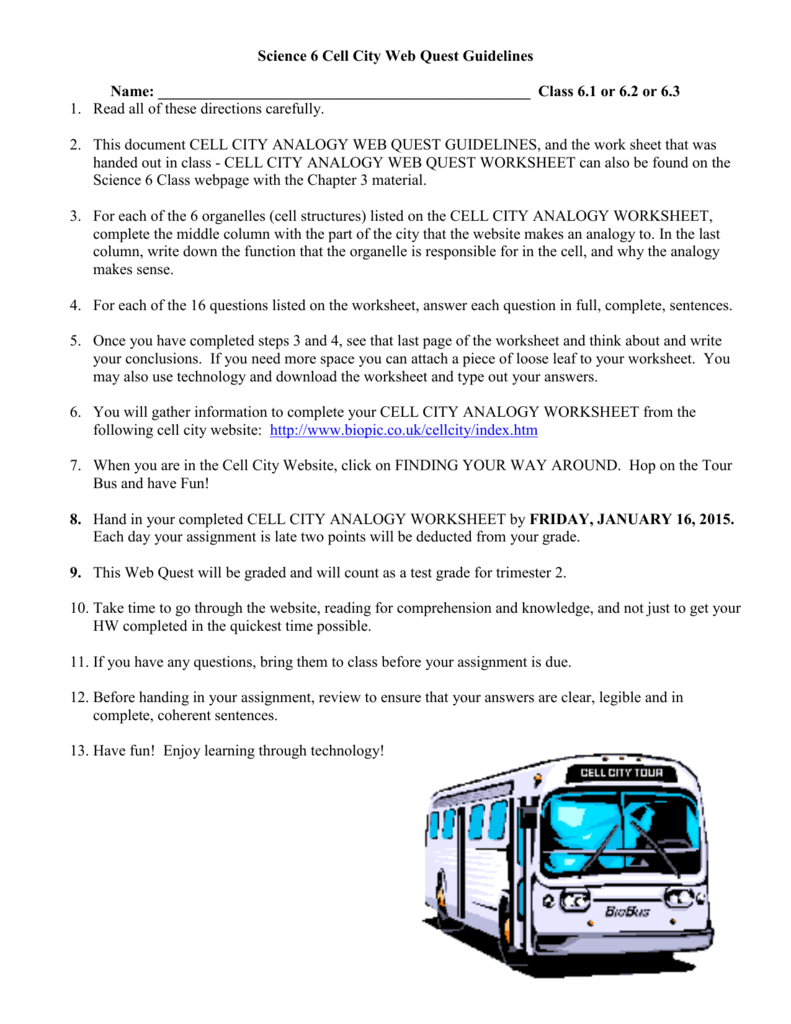 Ch3 Cell City Analogy Web Quest Guidelines 2015