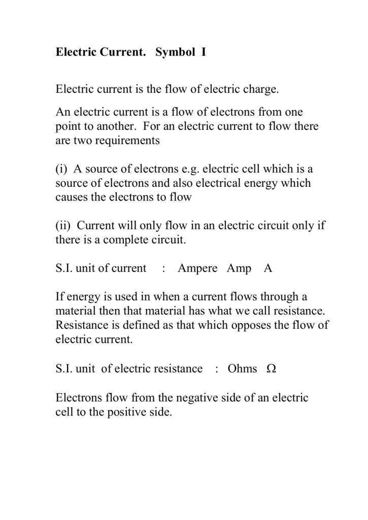 Lecture 9 Electric Current