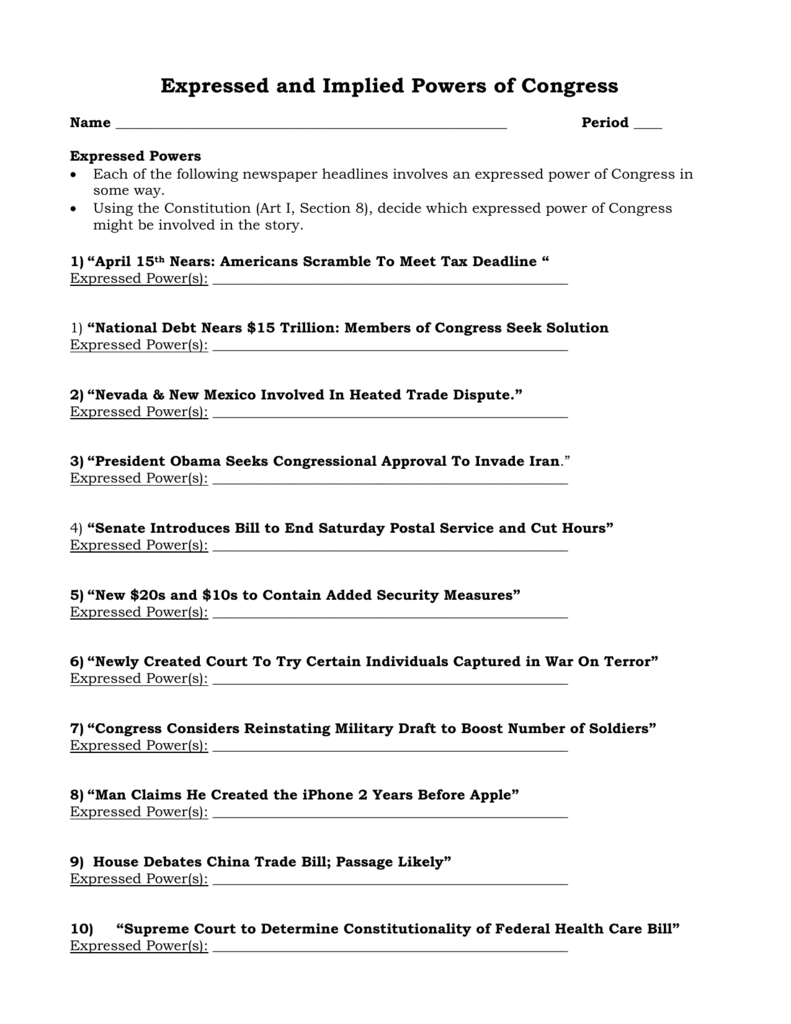 Expressed and Implied Powers of Congress With Powers Of Congress Worksheet