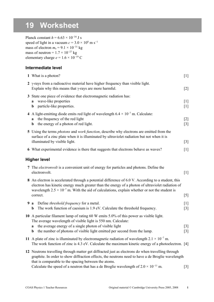 Worksheet – Wavelength Worksheet