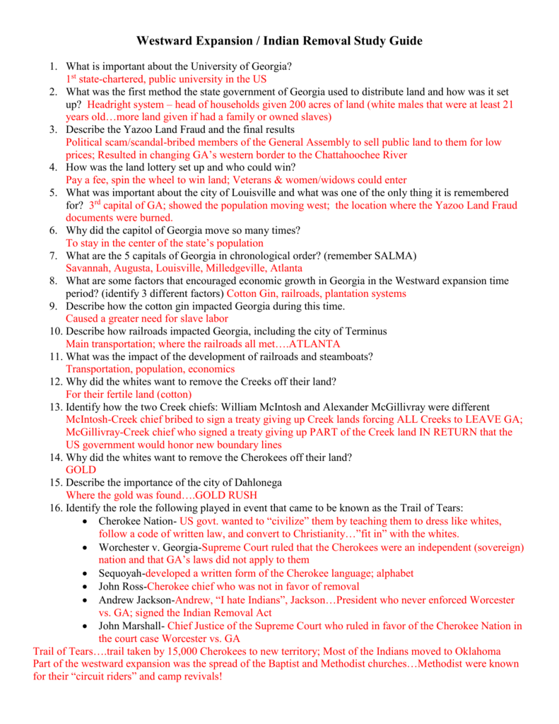Westward Expansion Study guide with answers