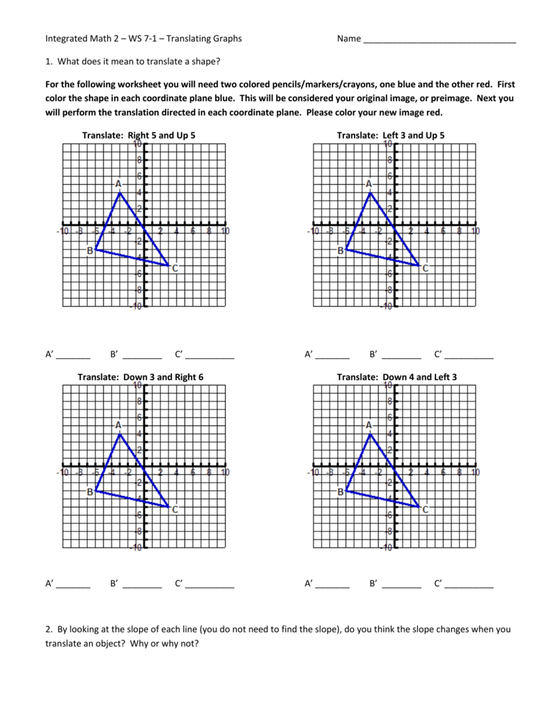 Integrated Math 24 – WS 24-24 – Translating Graphs With Regard To Dilations Translations Worksheet Answers