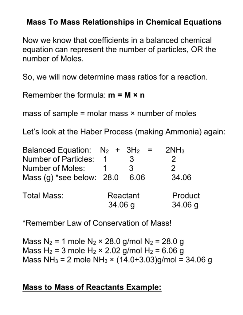 Mass To Mass Stoichiometry