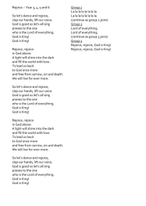 KS2 Carol Service Song Words 2015