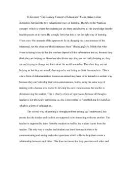 Compare And Contrast Essay On High School And College In His Essay The Banking Concept Of Education Freire Makes A Examples Of High School Essays also Essay Samples For High School Students Essay Response Paolo Freires The Banking Concept Of Education Example Of A Thesis Essay