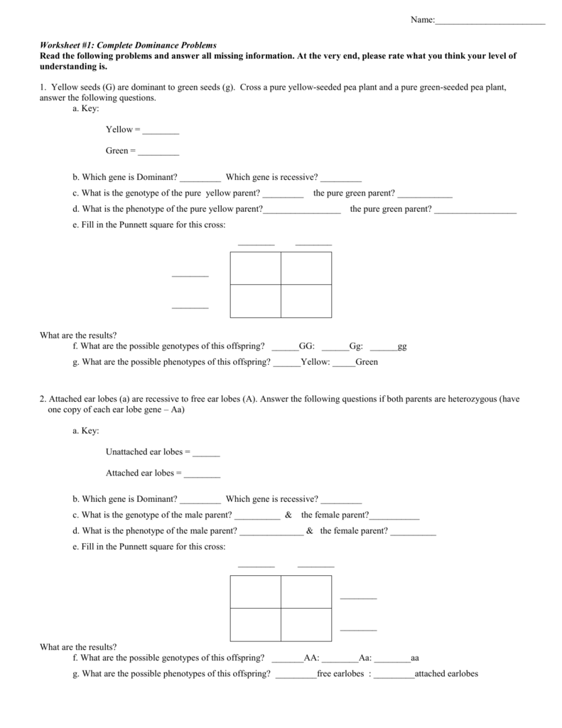 Worksheets Punnett Square Worksheet 1 Answer Key worksheet 1 complete dominance problems