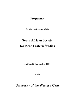 Programme for the conference of the South African Society for Near