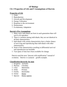 Ch 1 Properties of Life and 5 Assumptions of Darwin