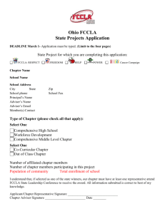 Ohio FCCLA State Projects Application DEADLINE March 1