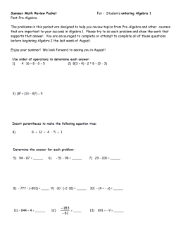 Summer Math Review Packet