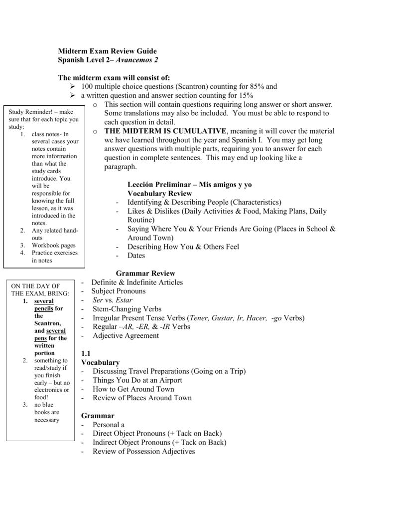 final exam review guide rh studylib net spanish ii final exam study guide spanish 1 semester 2 final exam study guide answers