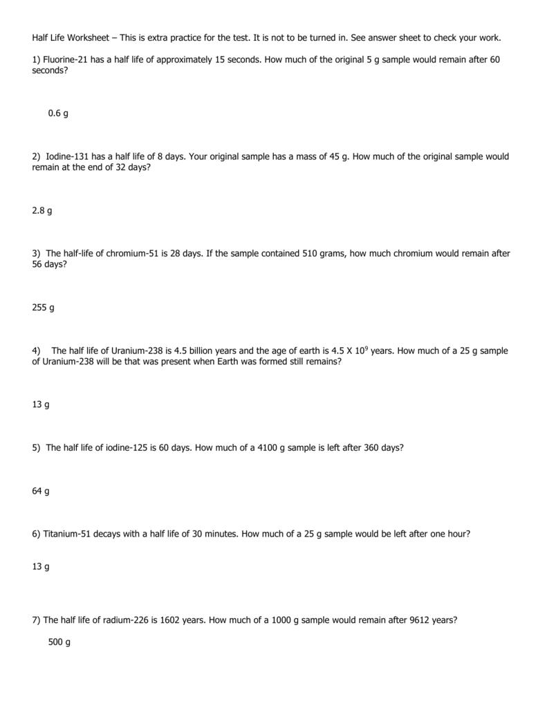 Worksheets Half Life Problems Worksheet half life worksheet key