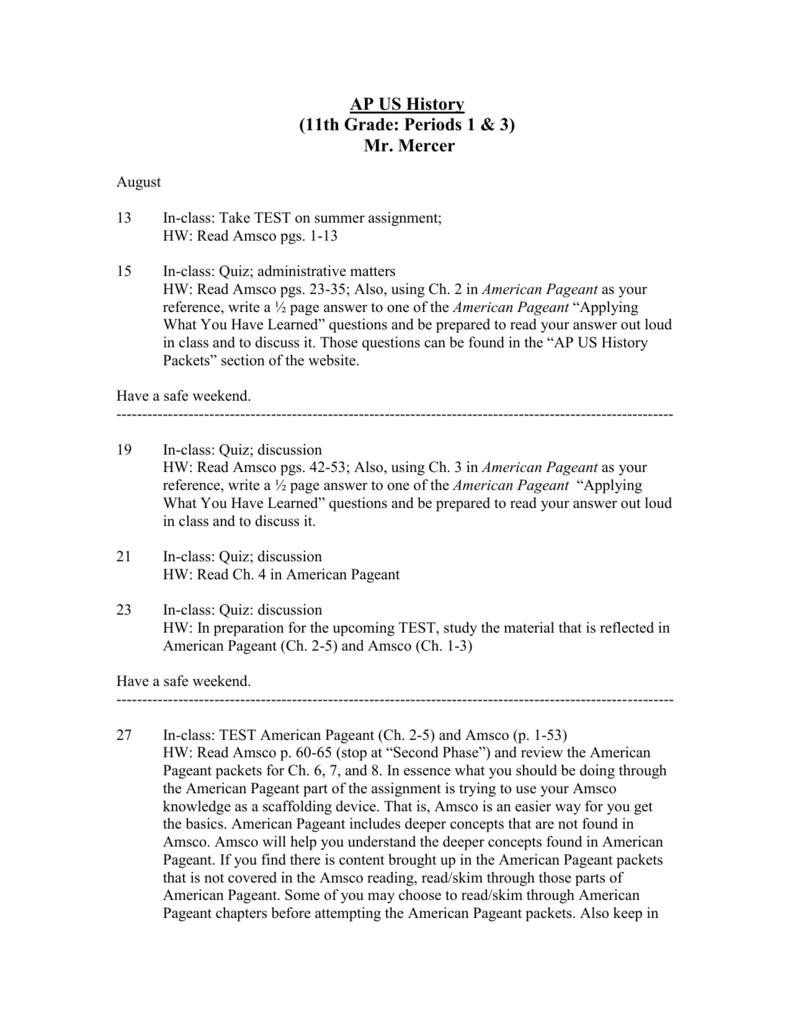 AP US History: 11th Grade (Periods)
