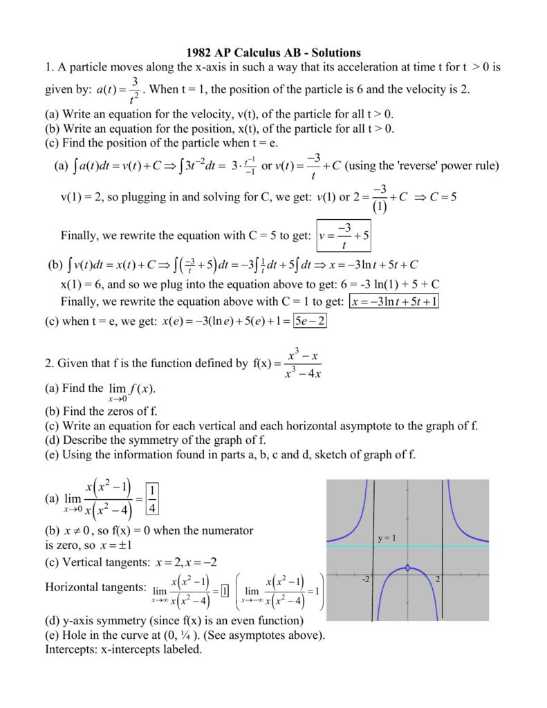 ap calculus sample examination iii free response solutions