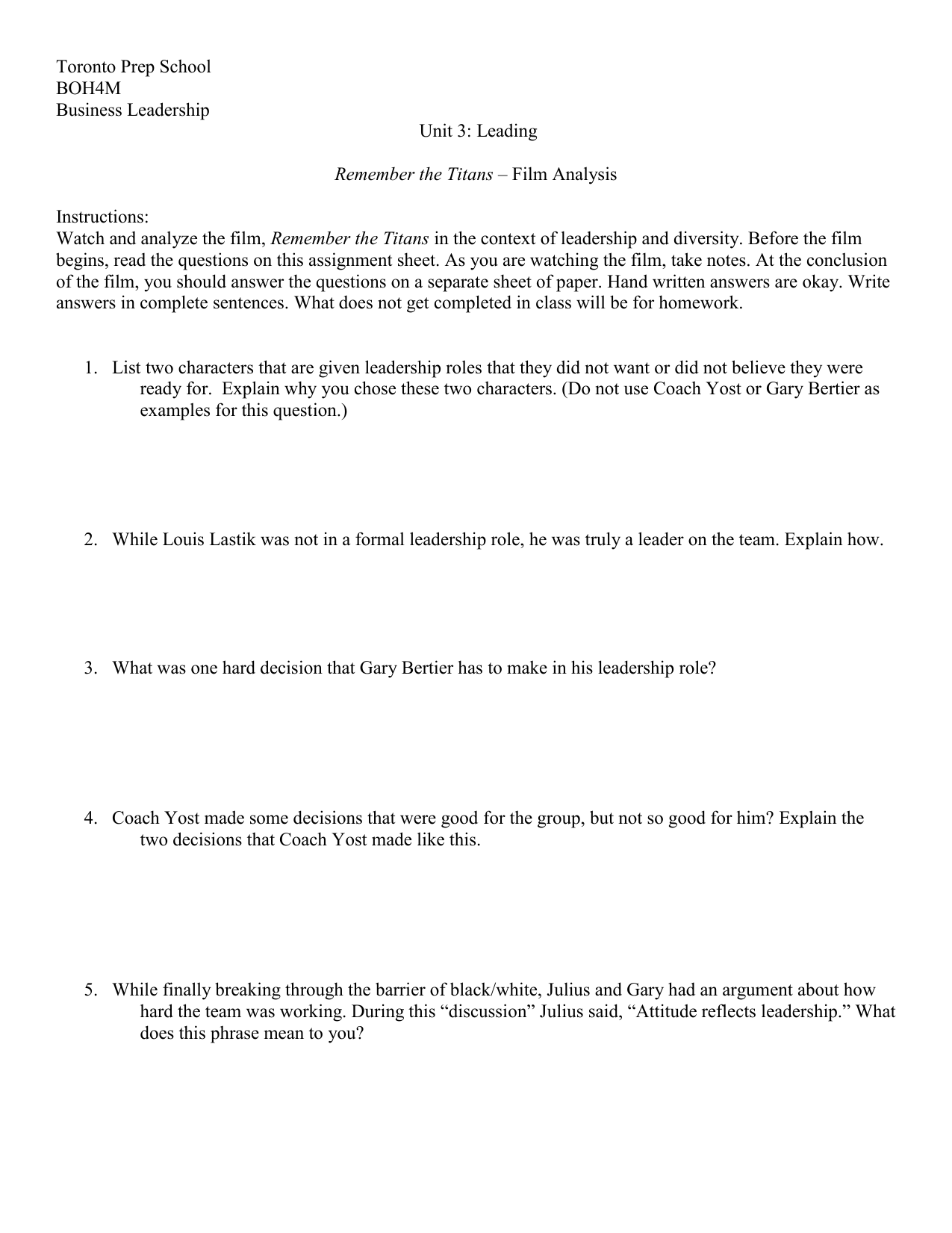 Remember the Titans Business Leadership – Remember the Titans Worksheet