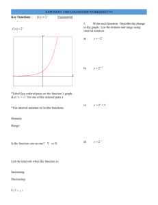 Exponent and logarithm worksheet #3