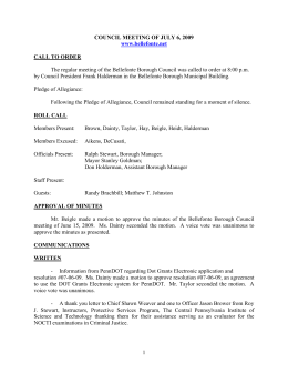 COUNCIL-MINUTES-070609 - Borough of Bellefonte Borough