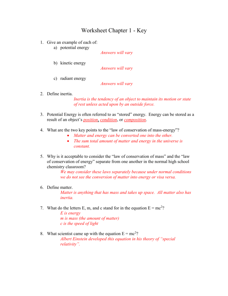 Worksheets Conservation Of Energy Worksheet Answer Key worksheet chapter 1 tri valley local school district