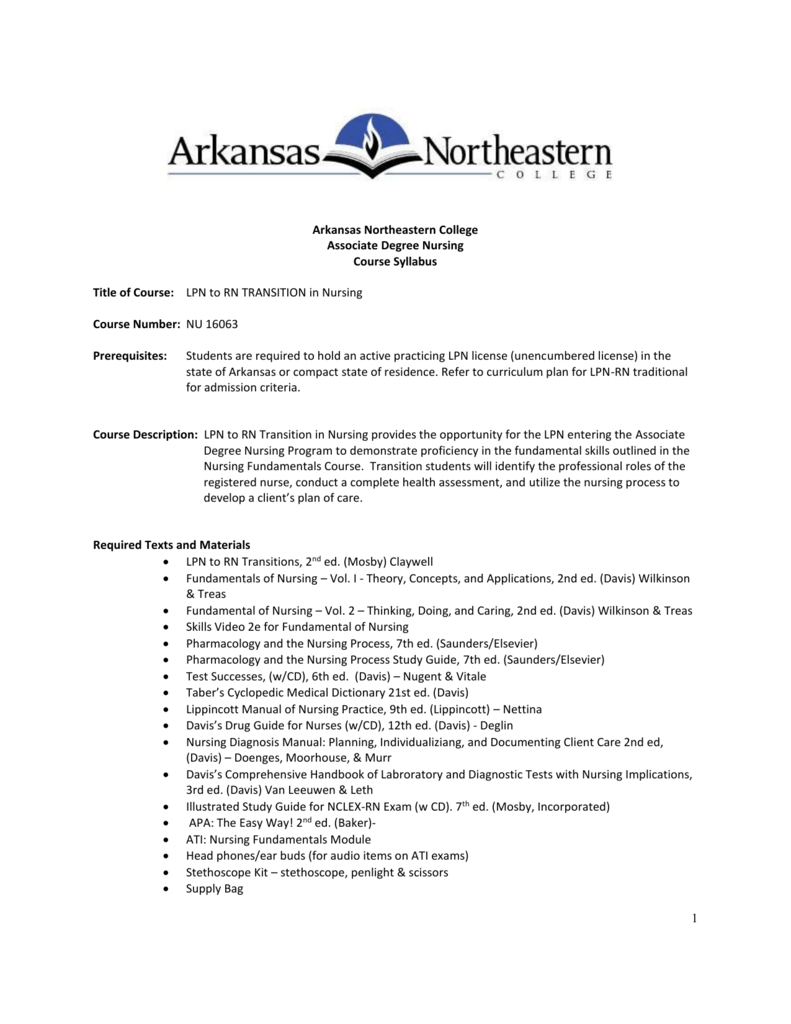 Arkansas Northeastern College Associate Degree Nursing Course