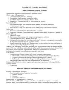 Psychology 155: Personality Study Guide 2 Chapter 5: Biological