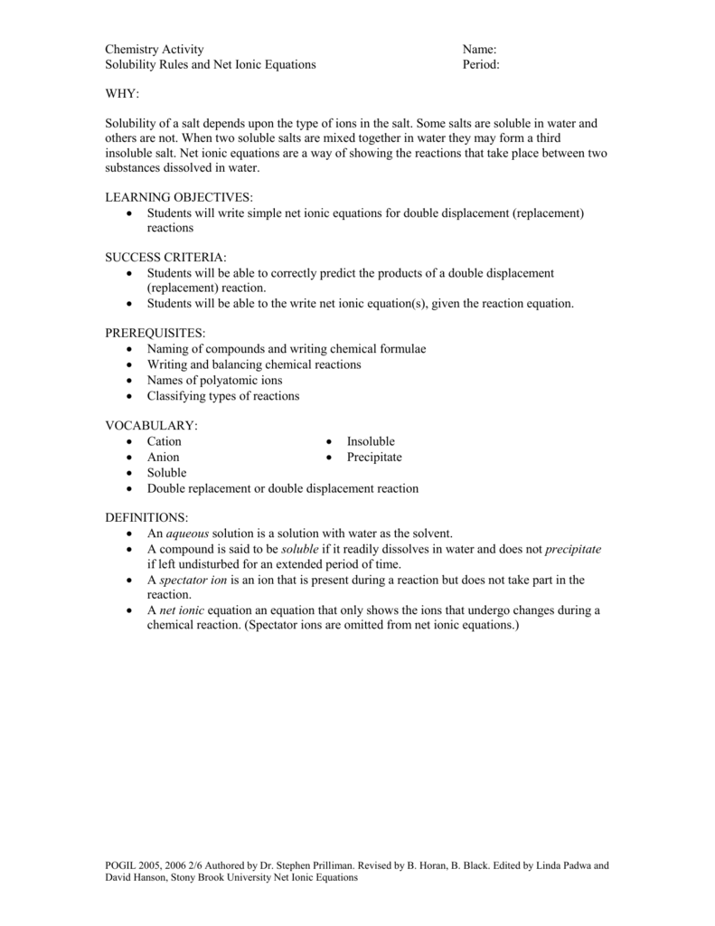 Solubility Rules and Net Ionic Activity – Solubility Rules Worksheet
