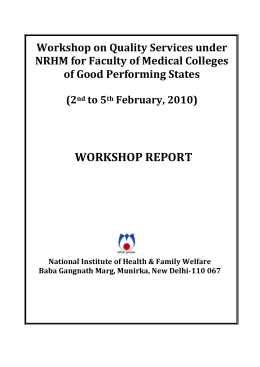 Training Course for - National Institute of Health & Family Welfare