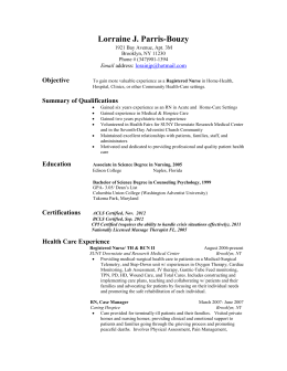 RESUME in NURSING, 2013