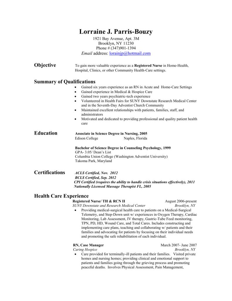 Resume In Nursing 2013