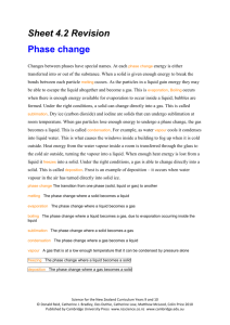 Sheet 4.2 Phases change - Science for the NZ Curriculum