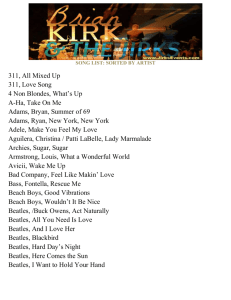 SONG LIST: SORTED BY ARTIST 311, All Mixed Up 311, Love Song