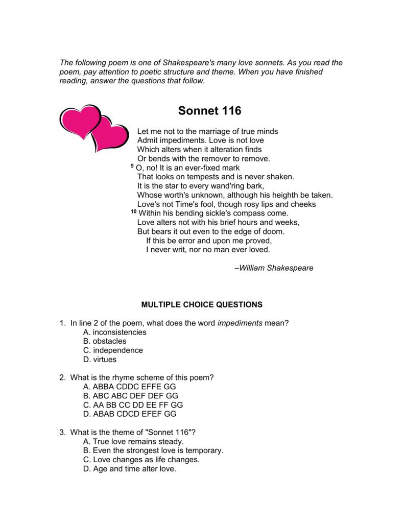 shakespeare sonnet 116 summary