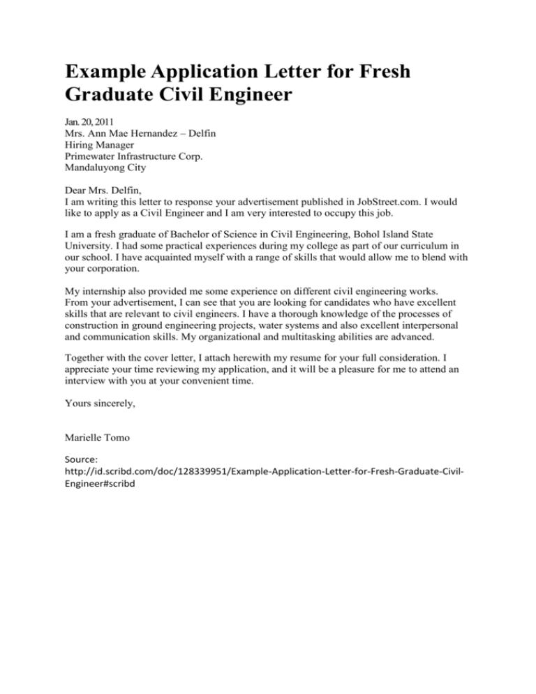 Example Application Letter For Fresh Graduate Civil Engineer Jan