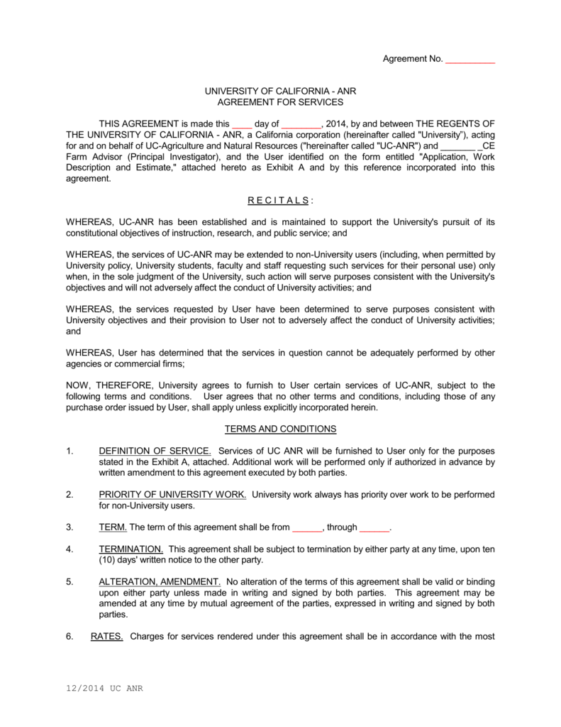 Service Agreement Uc Agriculture And Natural Resources