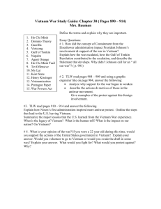 Vietnam War Study Guide : Chapter 30 ( Pages890 – 914)