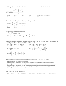AP Sample Questions for Calculus AB
