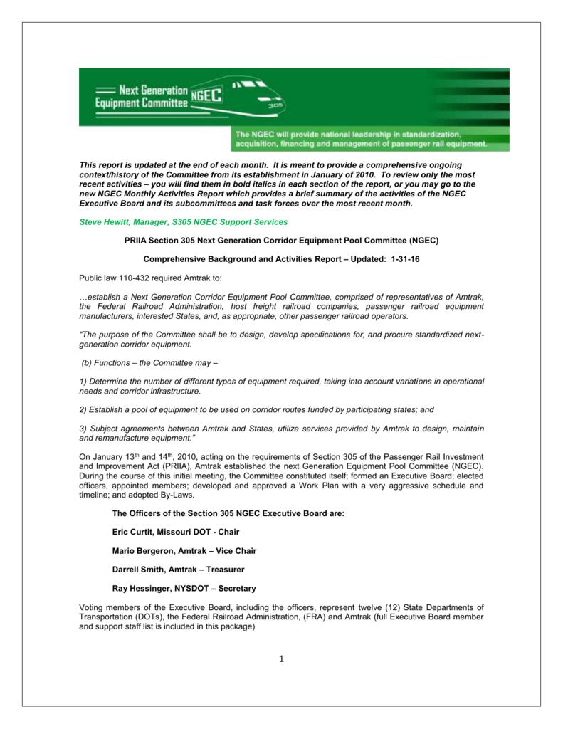 Comprehensive Background and Activities Report