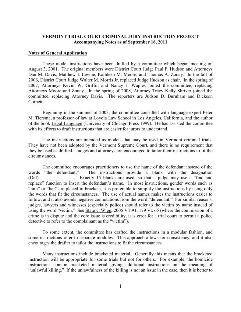 VERMONT TRIAL COURT CRIMINAL JURY INSTRUCTION