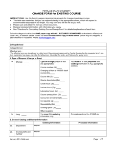 CHANGE FORM for EXISTING COURSE