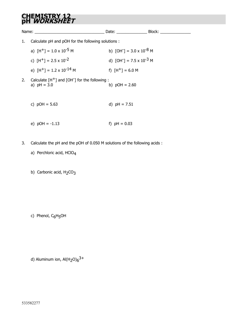 worksheet Ph Calculation Worksheet chemistry 12 ph worksheet