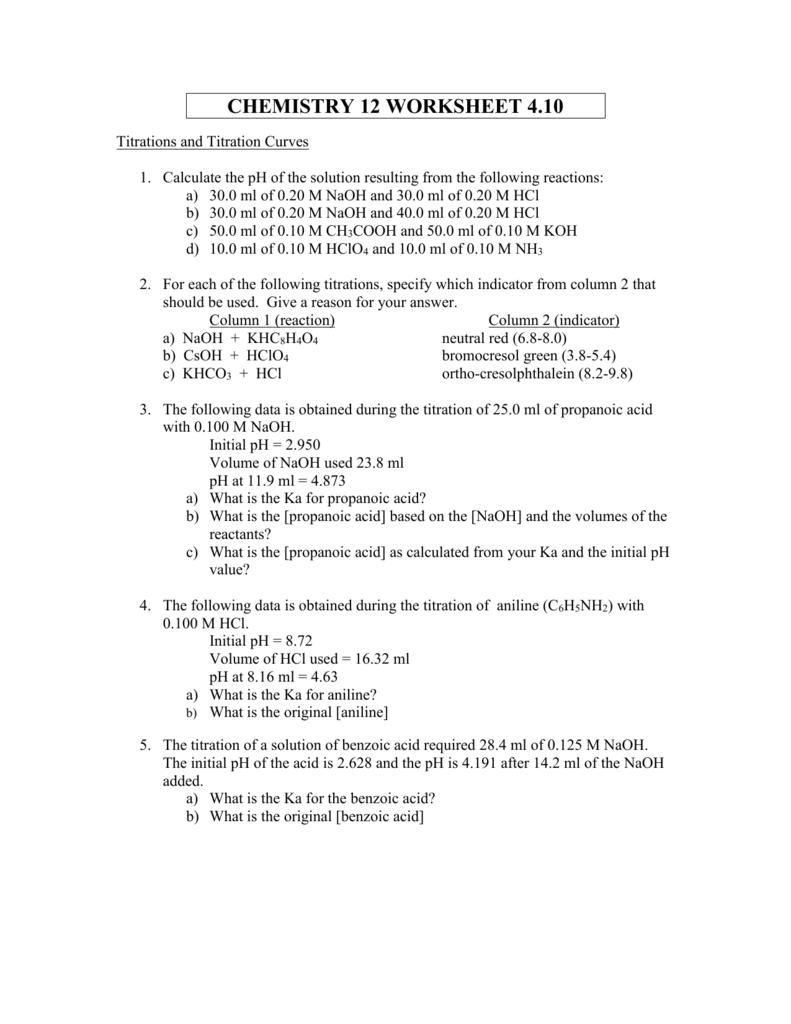 CHEMISTRY 12 WORKSHEET 4
