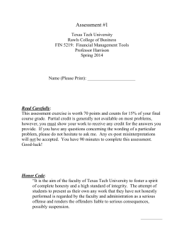 Assessment #1 - Texas Tech University