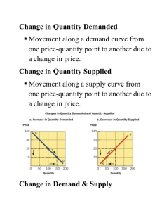 Change in Quantity Demanded Movement along a demand curve
