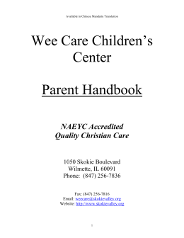 Parent Handbook - Wee Care Children's Center