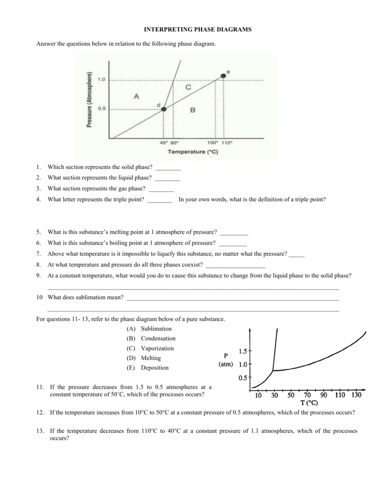 Worksheets Phase Diagram Worksheet Answers phase diagram worksheet