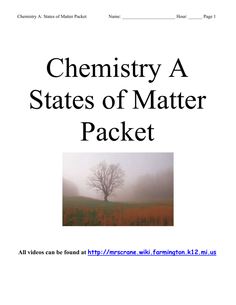 chemistry a states of matter packet answers