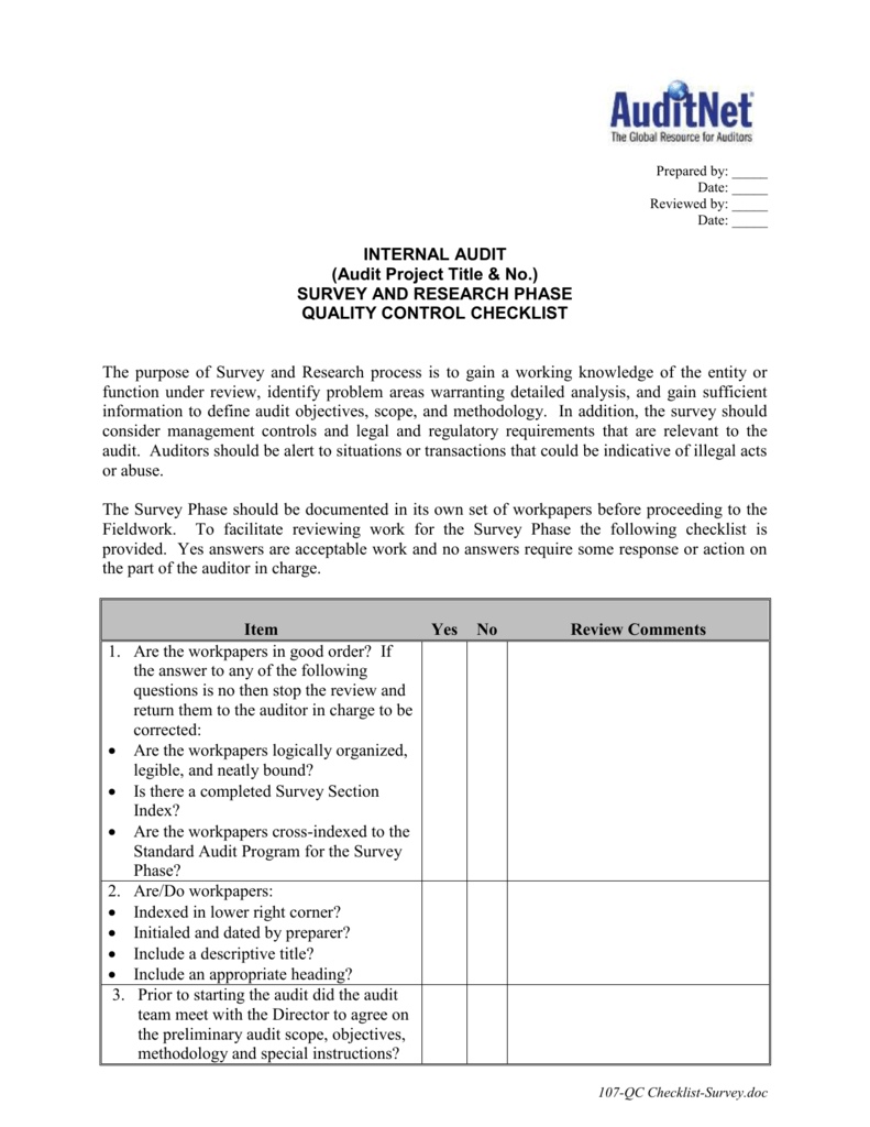 Quality Control Checklist for Audit Survey