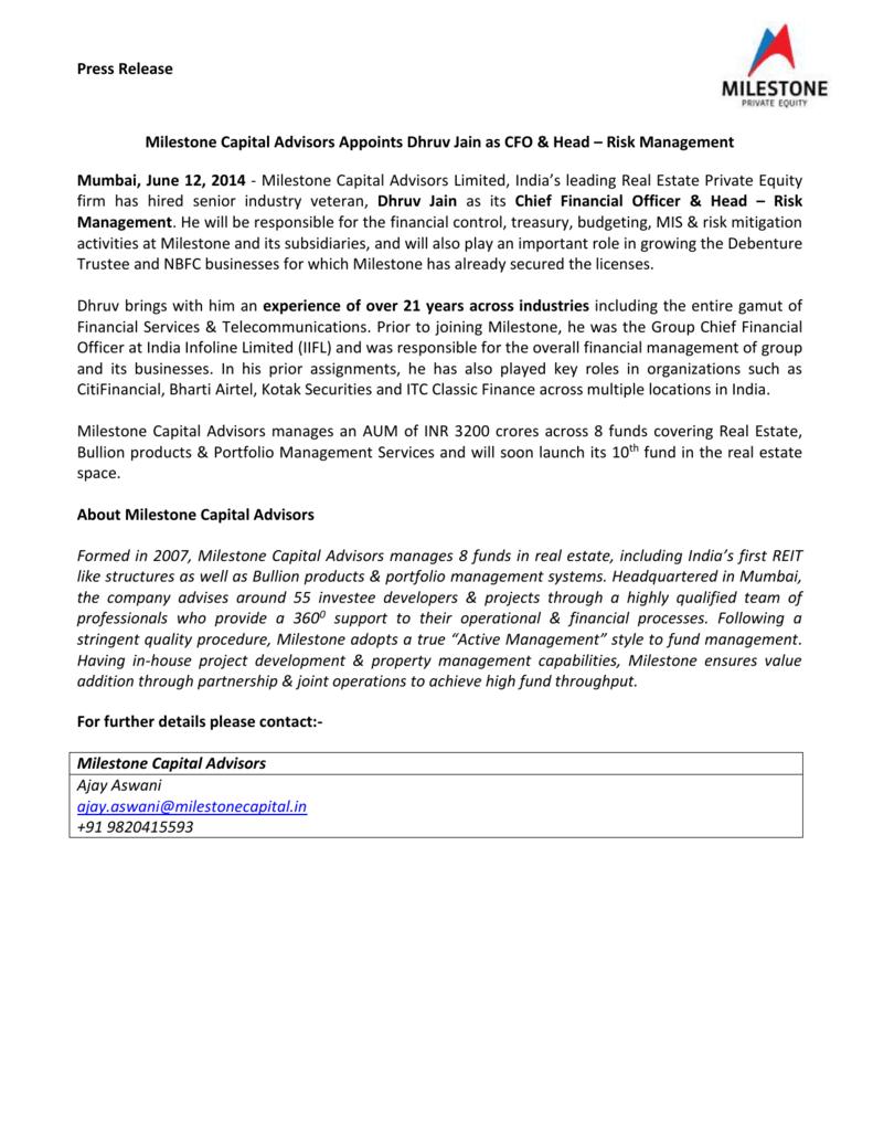 read more - Milestone Capital Advisors Ltd
